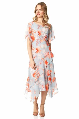 Roman Originals Women Floral Frill Midi Dress - Ladies Spring Summer Short Sleeve Round Neck Ascot Race Day Special Occasion Wedding Guest Evening Wear Ruffle Frill Dresses - Orange - Size 18