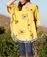 Ananda's Collection Women's Blouses MUSTARD - Mustard Floral Patchwork Tassel-Trim Poncho - Juniors
