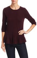 Wool Cashmere Ribbed Flounce Hem Sweater
