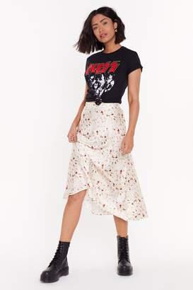 Nasty Gal Womens I'Ll Abstract 'Em Bias Cut Midi Skirt - White - L, White