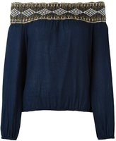 Tory Burch embroidered off shoulder blouse - women - Cotton - XS