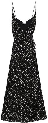Ganni Polka Dot Georgette Wrap Maxi Dress
