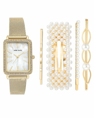 Anne Klein Women's Swarovski Crystal Accented Mesh Bracelet Watch and Barrette Set AK/3642
