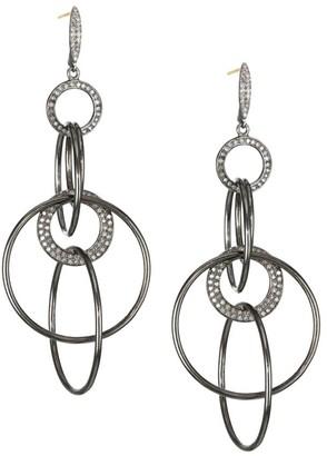 Nina Gilin Diamond Tiered Hoop Drop Earrings