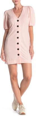 Trinity Moon Short Bubble Sleeve Button Front Dress