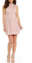 I.N. San Francisco Scalloped High Neck Illusion-Yoke Lace Skater Dress