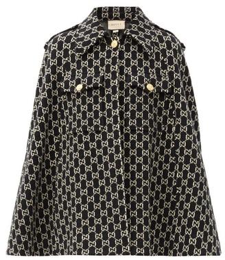 Gucci GG-jacquard Wool Cape - Black White