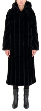 Jones New York Petite Hooded Faux-Fur Maxi Coat