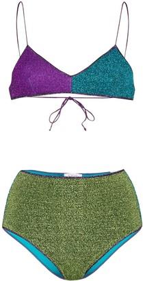 Oseree Lumier metallic colour-block bikini set