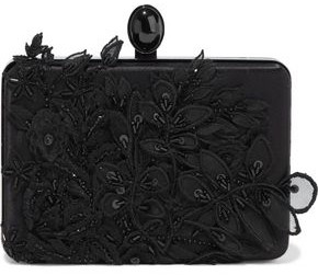 Oscar de la Renta Rogan Floral-appliqued Satin Box Clutch