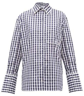 J.W.Anderson Scarf-collar Gingham Cotton Shirt - Womens - Blue White