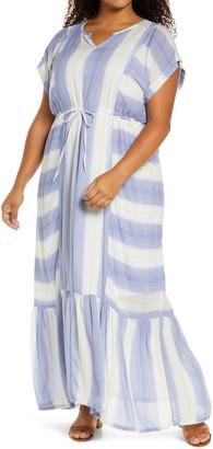 Caslon Tie Waist Ruffle Hem Maxi Dress
