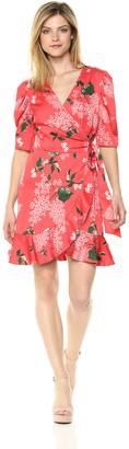 Keepsake Women's This Moment Short Sleeve Ruffle Mini Wrap Dress