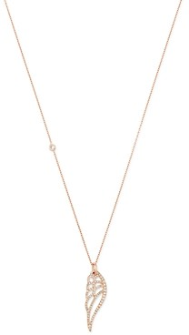 story. Own Your 14K Rose Gold Nature Pave Angel Wing Pendant Necklace, 18