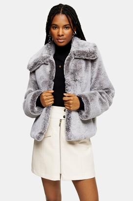 Topshop Womens Grey Two Tone Faux Fur Coat - Grey