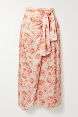 Mother of Pearl + Net Sustain Wrap-effect Floral-print Hammered-satin Midi Skirt - Peach