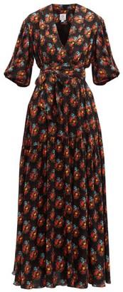 Gül Hürgel Floral-print Shawl-collar Dress - Womens - Navy Print