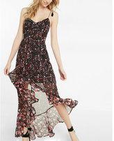 Express Floral Print Tie Shoulder Ruffle Maxi Dress