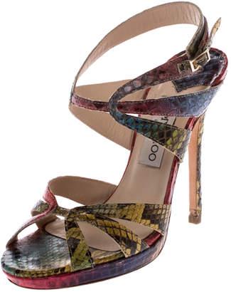 Jimmy Choo Multicolor Python Ankle Straps Open Toe Sandals Size 37
