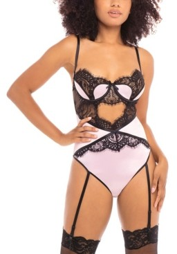Oh La La Cheri Women's Padded Cup Teddy with Lace and Satin Inserts