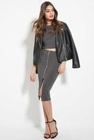 Forever 21 FOREVER 21+ Zip-Front Pencil Skirt