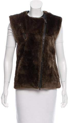 Damir Doma Leather-Trimmed Fur Vest