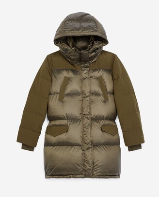 The Kooples Dual-material long khaki down jacket
