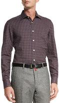 Kiton Check Dress Shirt, Gray/Red
