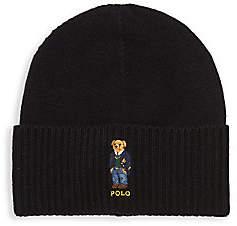 Polo Ralph Lauren Men's St. Andrew Aran Bear Embroidery Beanie Hat