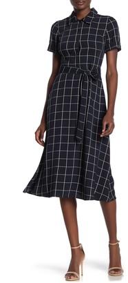 Maggy London Windowpane Printed Belted Midi Dress