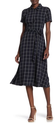 Maggy London Windowpane Printed Belted Midi Dress