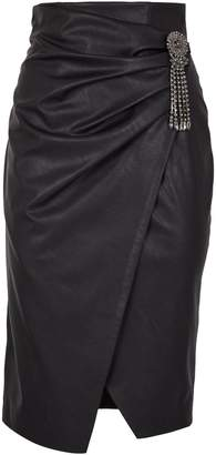 Pinko Embellished Faux Leather Wrap Skirt