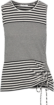 Joie Columba Ruched Striped Cotton And Linen-blend Jersey Tank