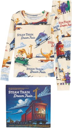 Books To Bed Steam Train, Dream Train Fitted Two-Piece Organic Cotton Pajamas & Book Set