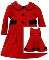 Bonnie Jean Baby Little Girls Christmas Holiday Coat & Dress Set