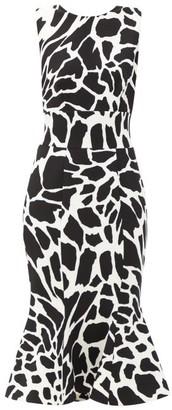 Alexandre Vauthier Flared Giraffe-print Crepe Dress - White Multi