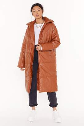 Nasty Gal Womens Longing For This Faux Leather Padded Coat - brown - 8