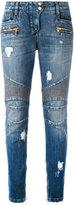 Balmain distressed biker jeans - women - Cotton/Polyester/Viscose - 34