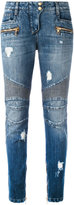 Balmain distressed biker jeans - women - Cotton/Viscose/Polyester - 34
