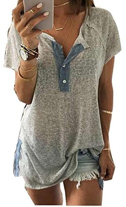 Kalorywee Sale Clearance White Tee Women Short Sleeve Loose Casual Button Blouse T Shirt Tank Tops