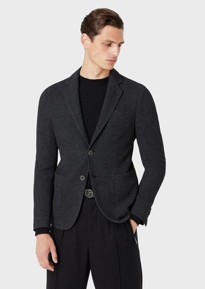 Giorgio Armani Regular-Fit, Knit Jacket With Chevron Motif From The Upton Line