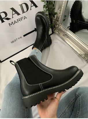 Black Stitch Chelsea Boot