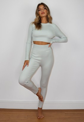 Missguided Grey Co Ord Msgd Rib Knitted Leggings