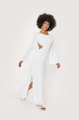 Nasty Gal Womens Linen Open Back Maxi Dress - Cream - 4