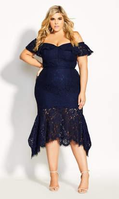 City Chic Angel Lace Dress - navy