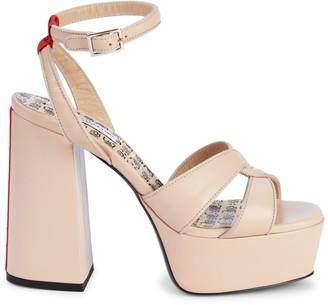 John Galliano Leather Ankle-Strap Platform Sandals