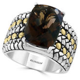 Effy Smoky Quartz, Sterling Silver and 18K Yellow Gold Ring