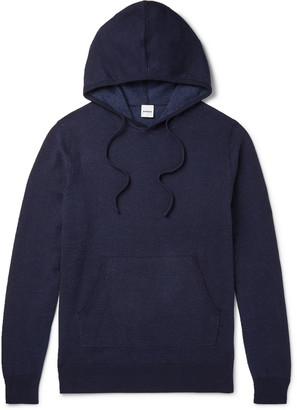 Aspesi Melange Loopback Cotton, Cashmere And Wool-Blend Jersey Hoodie