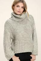 Lush Heart-to-Heart Heather Grey Crop Sweater