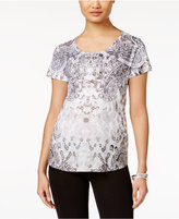 Style&Co. Style & Co Printed Studded T-Shirt, Only at Macy's